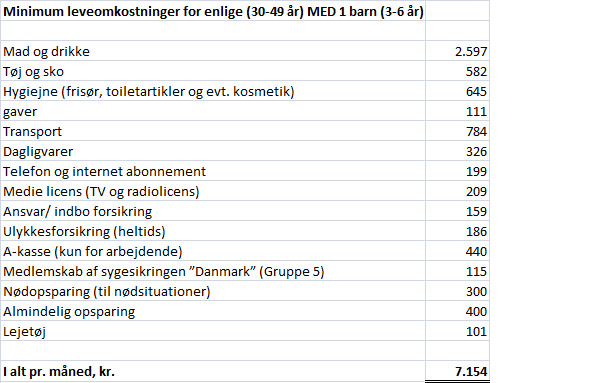 Minimum leveomkostninger for enlige med 1 barn